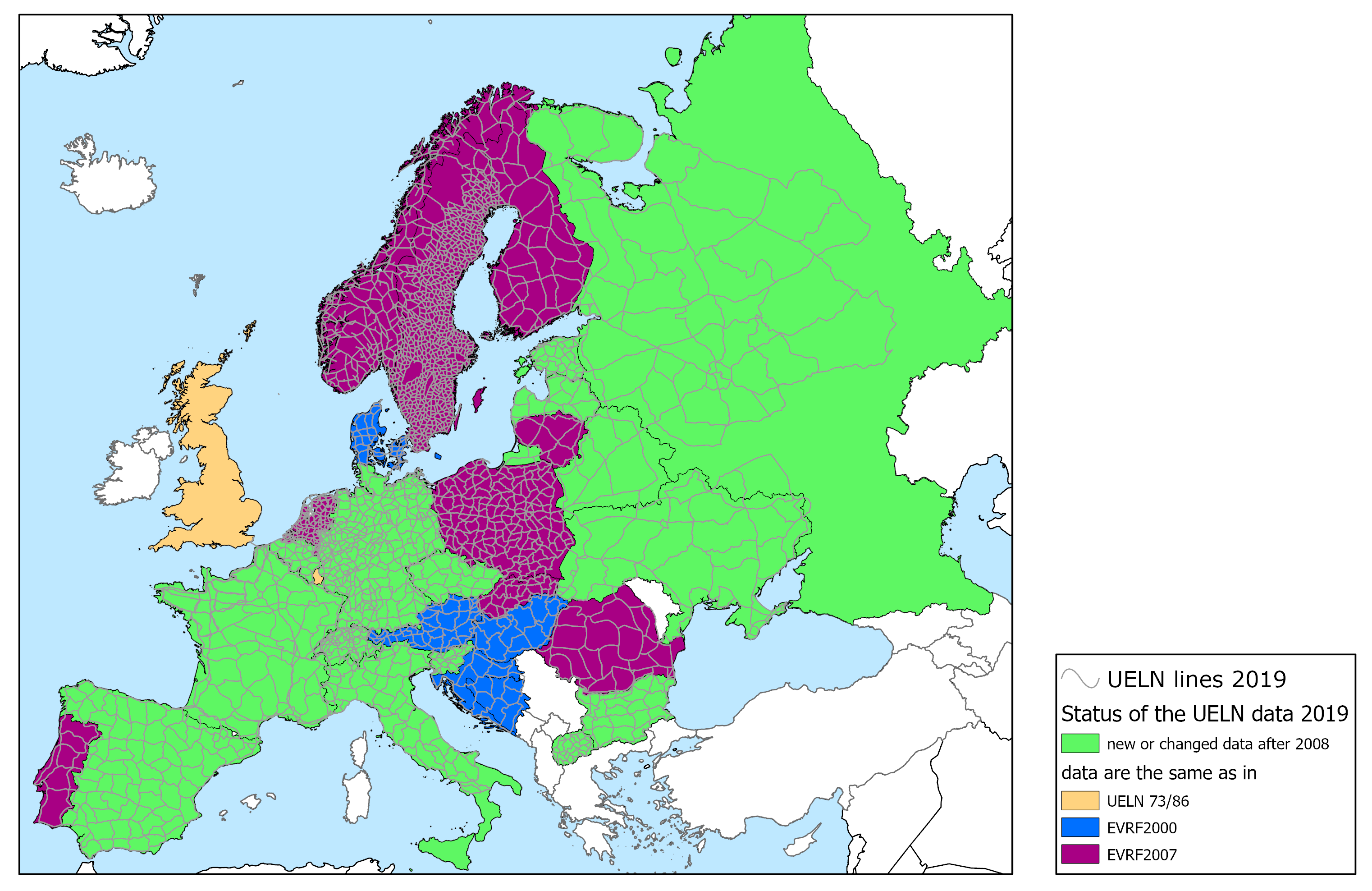 Picture shows in a map the status of the UELN data 2019